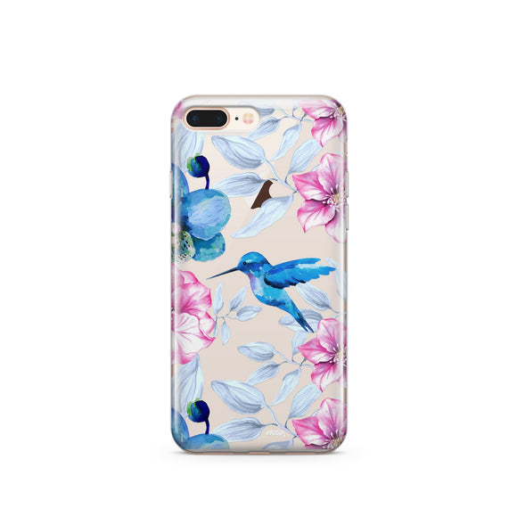Colored Vintage Hummingbird - Clear TPU Case Cover