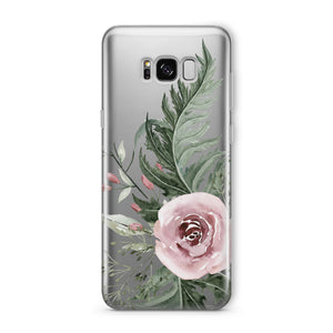 Dusty Pink Rose - Clear TPU iPhone Case / Samsung Case Phone Cover