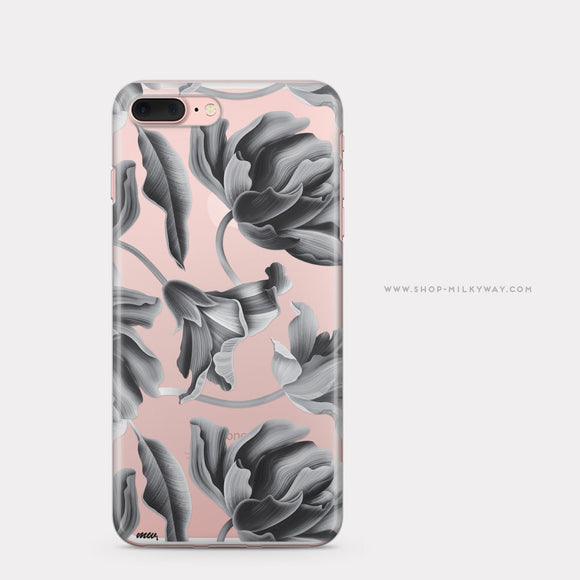Black Tropics - Clear TPU iPhone Case / Samsung Case Phone Cover