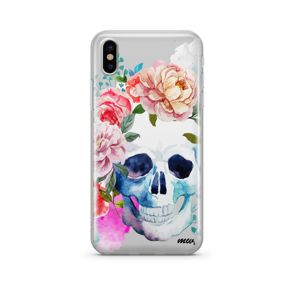 Colored Floral Skull- Clear TPU iPhone Case / Samsung Case Phone Cover