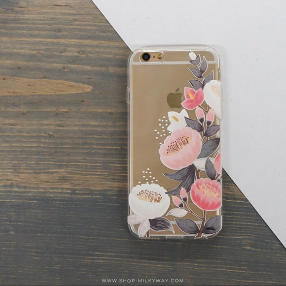 Laurel Floral - Clear TPU iPhone Case / Samsung Case Phone Cover