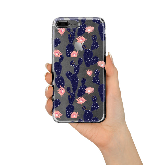 Blue Cactus - Clear TPU iPhone Case / Samsung Case Phone Cover