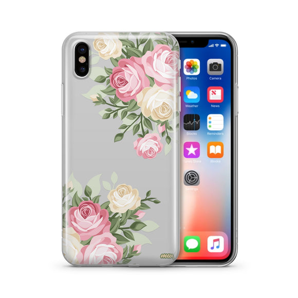 Vintage Roses - Clear TPU iPhone Case / Samsung Case Phone Cover