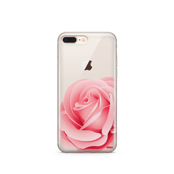 Pink Rose - Clear TPU iPhone Case / Samsung Case Phone Cover