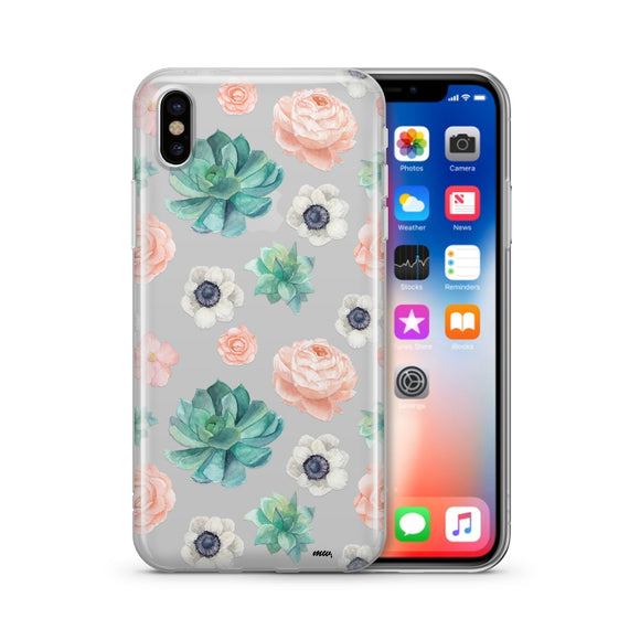 Succulent Overload - Clear TPU iPhone Case / Samsung Case Phone Cover