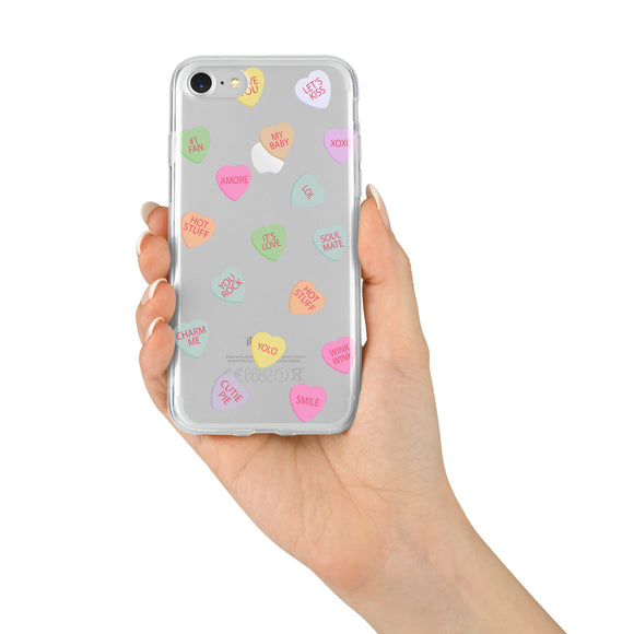 Valentine's Candy Hearts - CLEAR TPU IPHONE CASE / SAMSUNG CASE PHONE COVER