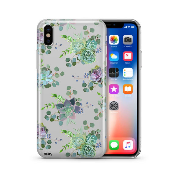 Echeveria - Clear TPU iPhone Case / Samsung Case Phone Cover