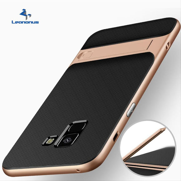 Hybrid PC Bumper Case for Samsung A8 2018 A8 Plus Back Cover Shockproof Stand Holder Case for Samsung A8 2018 Protective Shell