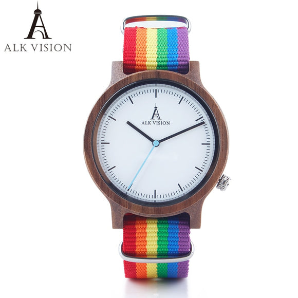 ALK Vision Pride Rainbow Top Wood Watches Luxury Brand Women Mens Wooden Watch with Canvas LGBT Strap Fashion Casual Wristwatch