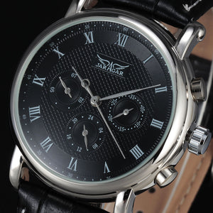 2016 JARAGAR Brand Fashion Automatic Mechanical Self-Wind 24 Hour Week Date Roman Dial Men Leather Luxuxry Dress Wrist Watches