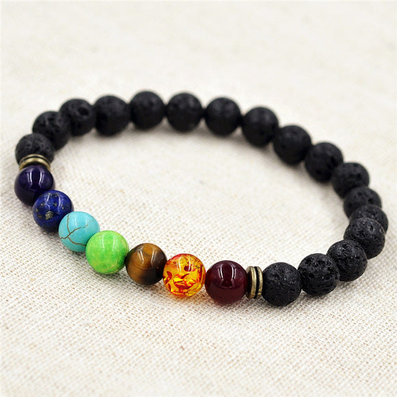 8mm Muti-color Beads Bracelets Lava 7 Chakra Healing Balance Bracelet for Men Rhinestone