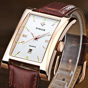2016 New Luxury Brand WWOOR Men's Watches Quartz Watch Male Wristwatch leather Strap Waterproof Clocks