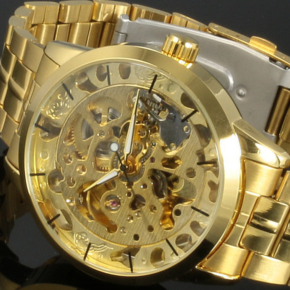2016 New Winner Gold Watches Luxury Brand Men's Fashion Automatic Hollow Out Man Mechanical Watches Waches