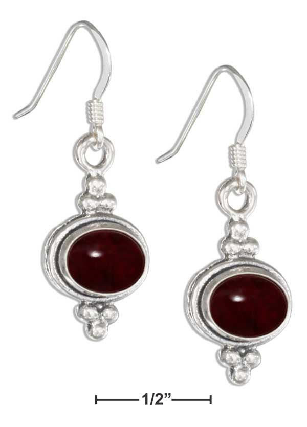 Sterling Silver Framed Oval Garnet Earrings on French Wires