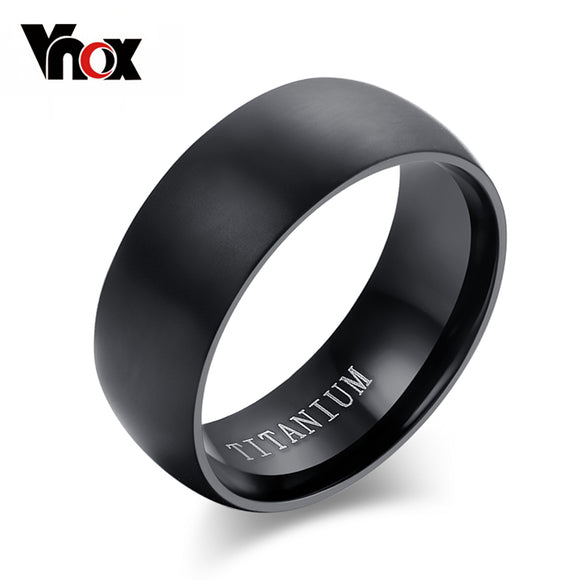 100% Titanium Rings For Men 8mm Cool Black Men' Ring Jewelry Wedding Engagement Male Gift