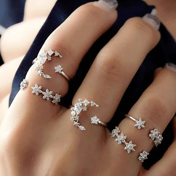 5 Rings Set New Bohemian Vintage Women Alloy Star Moon Shape Finger Rings Punk For Women Jewelry Couples Rings Bijouterie