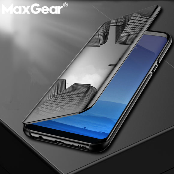 MaxGear Smart Mirror View Case For Samsung Galaxy J3 J4 J6 J7 J8 2018 Flip Cover For Samsung J3 J5 J7 Pro Stand Leather Capa