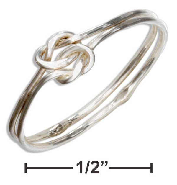 Sterling Silver Wire Double Love Knot Ring