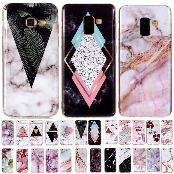 Luxury Granite Marble Stone Geometry Splice Colorful Pattern Case for Samsung Galaxy A3 A5 2017 A6 A8 Plus 2018 Soft Back Cover