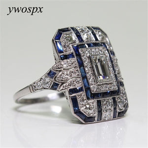 YWOSPX Luxury Silver Big Square Rings for Women Jewelry Wedding Crystal Zircon Anel Engagement Anillos Statement Ring Gifts Y35