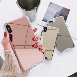 Mirror Phone Case For iphone X 7 8 6s 6 s 7plus 8plus Cute Soft TPU Shockproof Cover For Samsung Note9 Note8 S8 S9 Plus Case