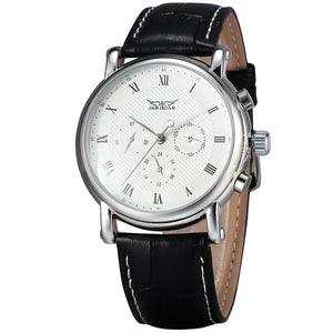 2016 JARAGAR Fashion Automatic Mechanical Men Dress Watches 24 Hour Week Date Solid Dial Leather Band Simple Wristwatch Gift