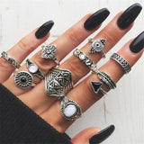 FAMSHIN 15Pcs/Set Fashion Vintage Ring Set Femme Stone Silver Midi Finger Rings Boho Women Jewelry Knuckle Ring Set Jewelry Gift