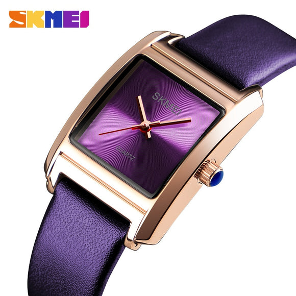 SKMEI Womens Watches Top Brand Luxury Leather Quartz Watch Women Fashion Dress Ladies Wrist Watch Female Reloj montre femme 2018