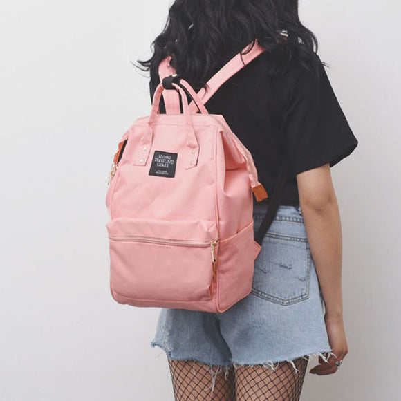 Solid Backpack School Travel Bag Double Shoulder Bag Zipper Bag Women Canvas Backpack Chain Ring Teenage Girls Backpack #Zer