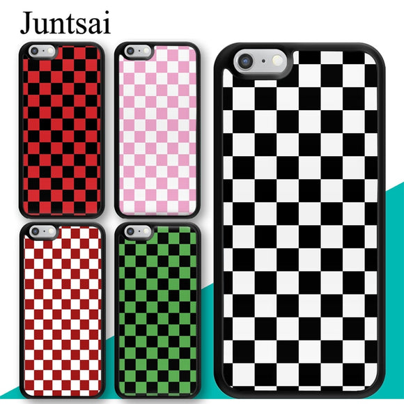 Juntsai Checkerboard Plaid Checked Checkered Phone Case for iphone X XR XS MAX 6 6s 7 8 Plus TPU Cover Coque For iphone 7Plus
