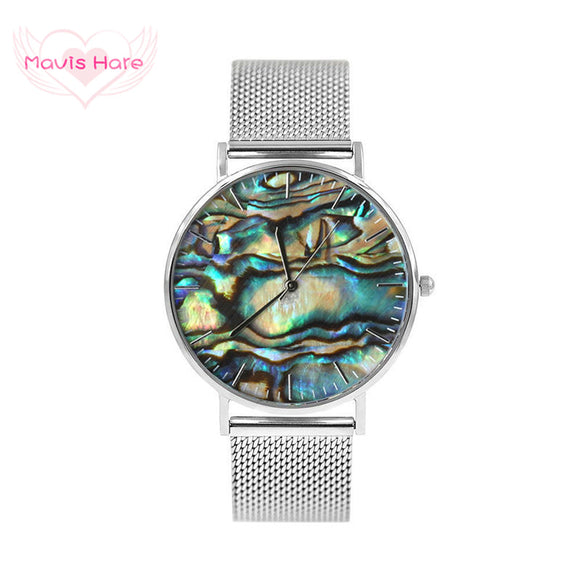 Mavis Hare Real Abalone Silver Mesh Watches Women Ocean Series Wrist Watches with Stainless Steel Mesh Bracelet Bands