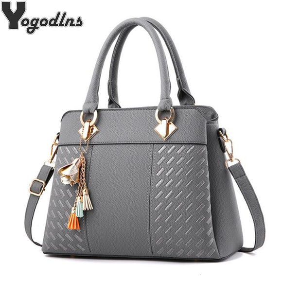 Fashion Women Handbags Tassel PU Leather Totes Bag Top-handle Embroidery Crossbody Bag Shoulder Bag Lady Simple Style Hand Bags