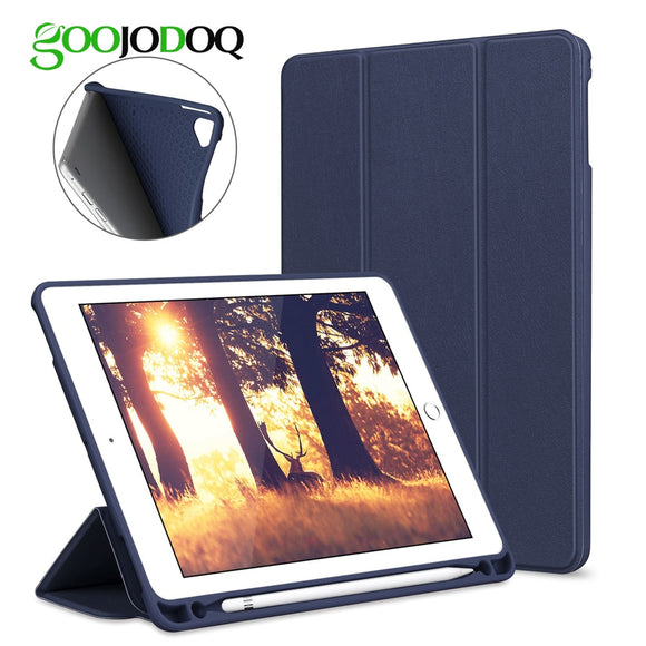 For iPad 2018 Case Pencil Holder GOOJODOQ Silicone Soft Back Smart Cover for iPad 6th Generation Pro 9.7 Air 2 Air 1 Case Funda
