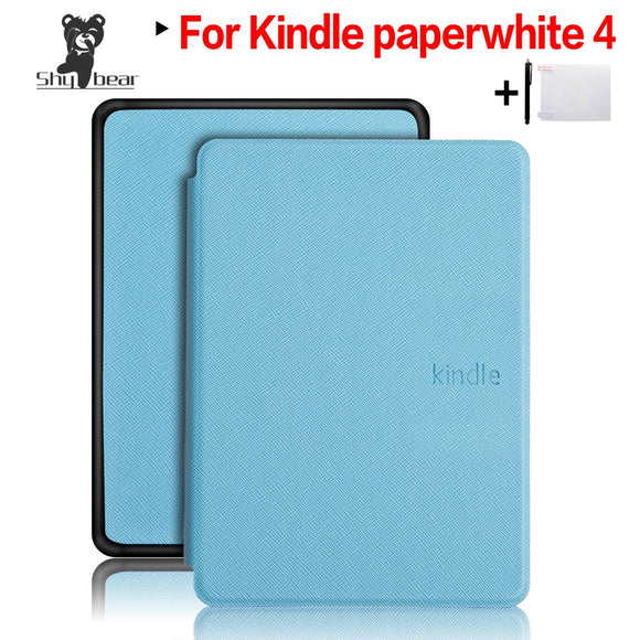 Slim Smart Folio PU Leather Cover Case for 2018 New Amazon Kindle Paperwhite 4 + Screen Protector Film + Stylus Pen