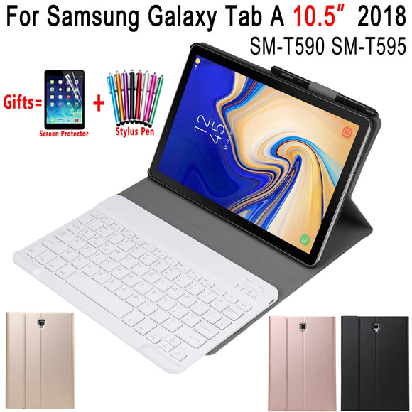 Removable Bluetooth Keyboard Leather Case for Samsung Galaxy Tab A A2 10.5 2018 T590 T595 SM-T590 Cover Funda with Pencil Holder