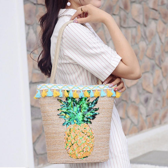 Pineapple Print Bohemian Bag Beach Water Bucket Straw Bag Handmade Pineapple Pattern Rattan-made Single-shoulder Bags