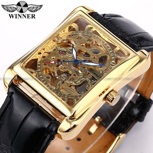 Winner Skeleton Gold Watch Retro Designer Rectangle Black Leather Men Casual Watch Men Luxury Brand Automatic Mechanical Watch