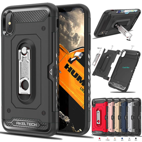 2 In 1 Soft TPU & Hard PC Back Hybrid Armor Case With Metal Kickstand & Card Slot Holder Cover For Apple iPhone X XS XR XS Max