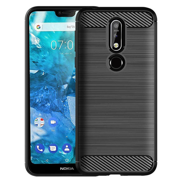 For Nokia 7.1 Carbon Fiber Hybrid Brushed Armor Case Anti Drop Protective Anti Scratch TPU Rubber Back Phone Cover For Nokia 7.1
