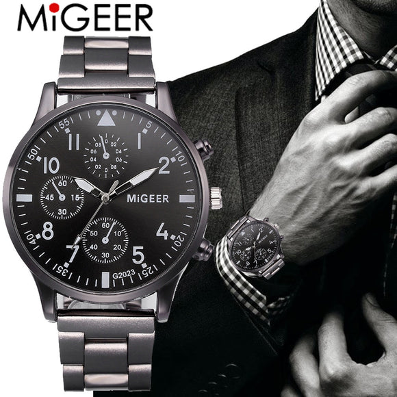 MIGEER Fashion Man Business Watch Crystal Stainless Steel Analog Quartz Wrist Watch Luxury Casual Mens Sports Clock Relogio USPS