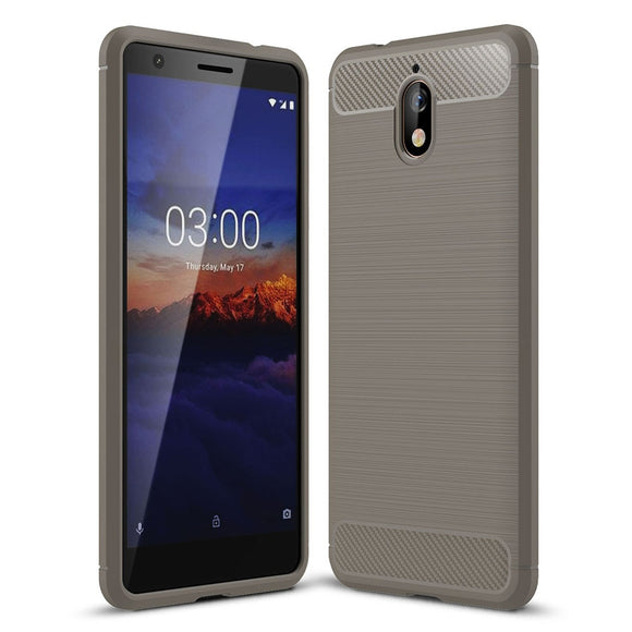 Soft Hybrid Brush Armor Case For Nokia 3.1 (2018) Carbon Fiber TPU Rubber Shockproof Anti Scratch Back Cover For Nokia 3.1 2018