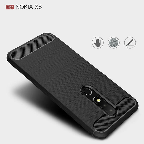 Hybrid Brush Soft TPU Armor Case For Nokia X6 2018 Carbon Fiber Shockproof Anti Scratch Back Cover For Nokia 6.1 Plus (2018)/X6