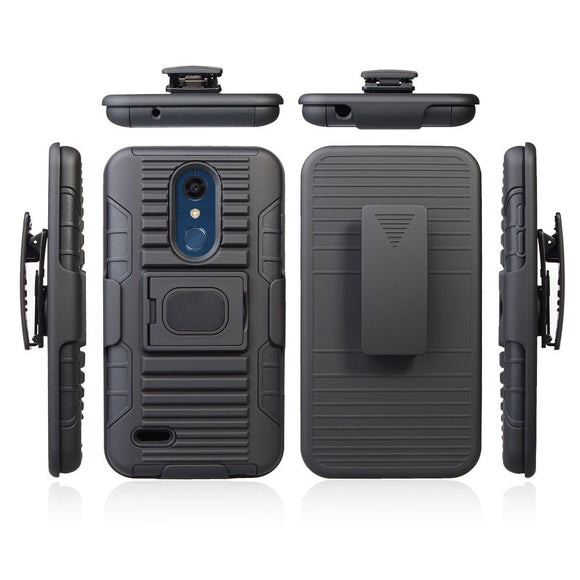 For LG K10 2018/ K30/ K10 Alpha/Premier Pro LTE/Phoenix Plus Magnetic Armor Case With Ring Stand Belt Swivel Clip Holster Cover
