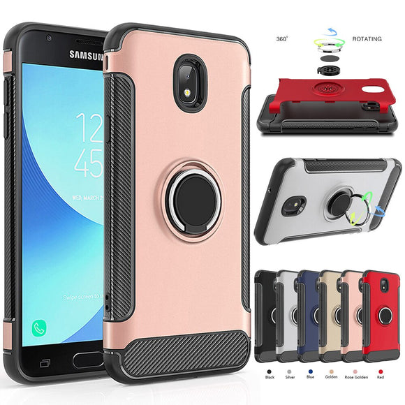 For Samsung Galaxy J3 2018/Eclipse 2/Achieve/Star/orbit/Amp Prime 3/Sol 3/J3 V 3rd Gen Case Ring Stand Magnetic Armor Back Cover