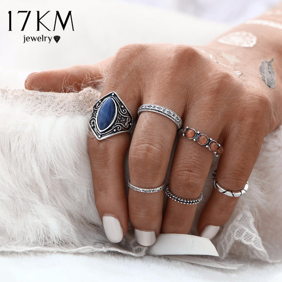 17KM 2016 New Fashion 6pcs/Set Midi Ring Sets Boho Beach Vintage Tibetan Silver Color Rings For Women Jewelry