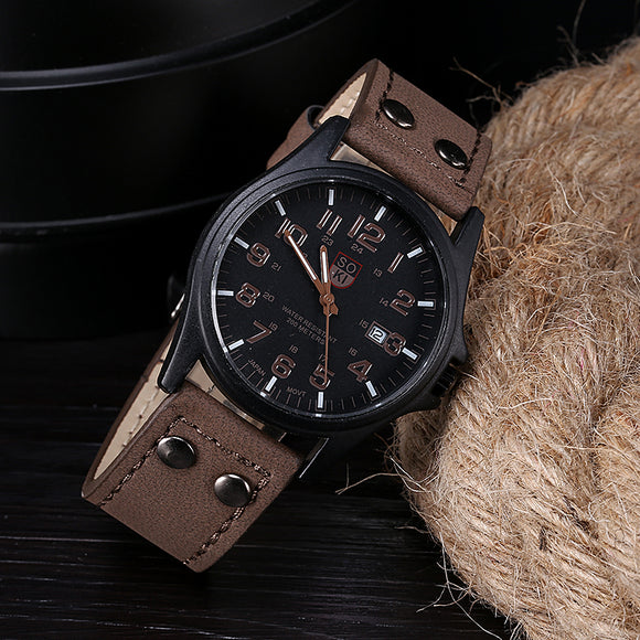 Classic sport watch men wrist watches daily waterproof date leather band military quartz wristwatch clock male luxury cost watch