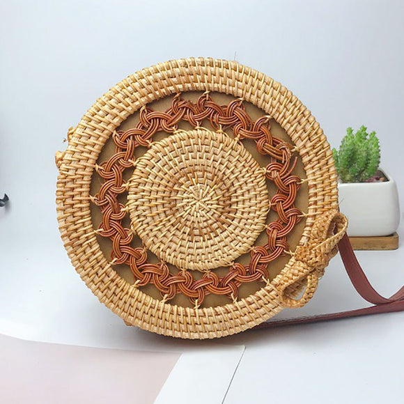 2019 Women's Handbags Messenger Shoulder Bags Crossbody bag Circle Beach Handwoven Bali Round Retro Rattan Straw Bolsas Feminina