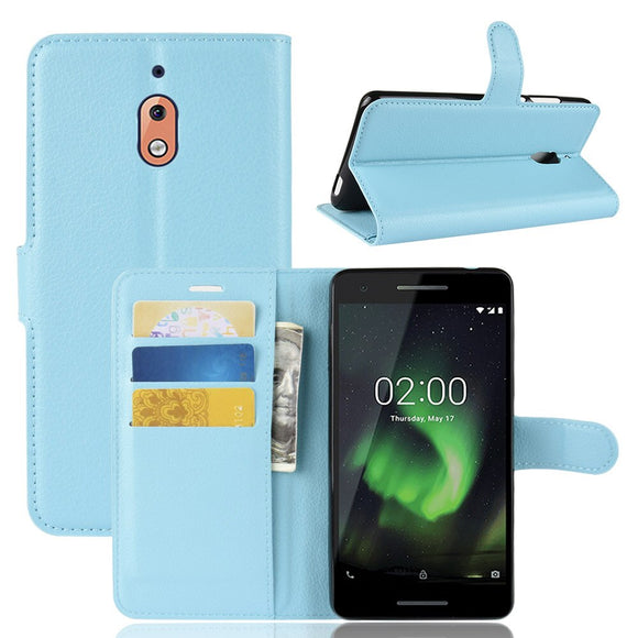 Leather Wallet Flip Case For Nokia 2.1 2V 2 v With Back Kickstand & Card Slot Holder Shockproof Hard Skin Cover For Nokia 2.1/2v