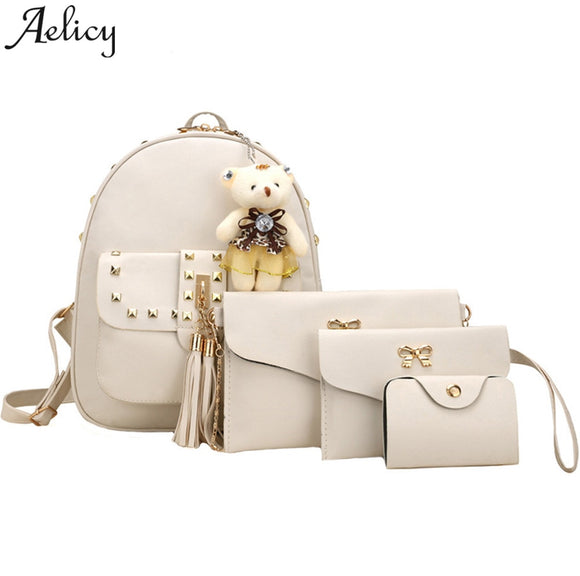 Aelicy Women Backpack 4 Sets Bear Animals tassel girl School Bag Shoulder Bag +clutch bag mochila feminina dropshipping 2019 hot
