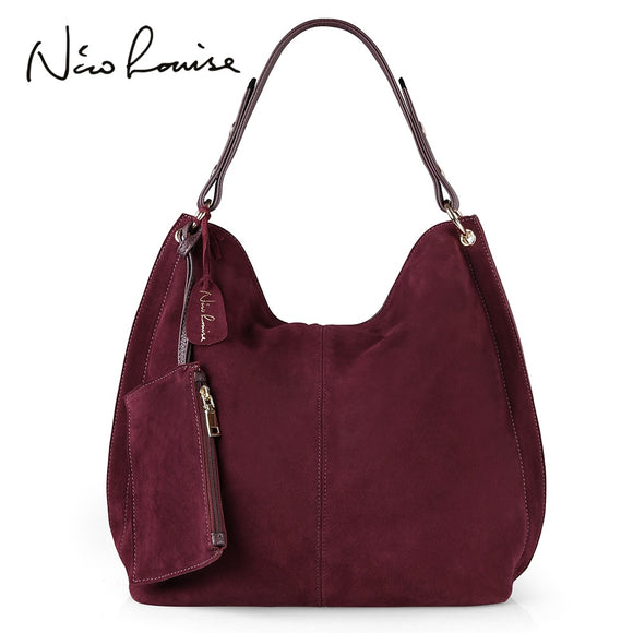 Nico Louise Women Real Split Suede Leather Hobo Bag Design Female Leisure Large Shoulder Bags With Wallet Travel Casual Handbag